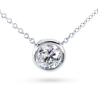 Annello 14k Gold 1ct Forever Classic Moissanite Round Bezel Solitaire Necklace