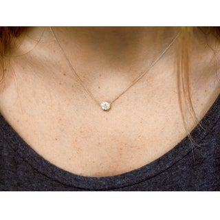 Annello 14k Gold 4/5ct Forever Classic Moissanite Round Bezel Solitaire Necklace