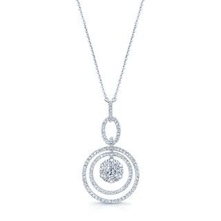14k White Gold 1 1/4ct TDW Diamond Cluster Circle Necklace (G-H, VS-SI)