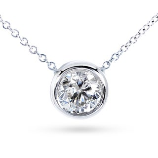 Annello 14k Gold 2ct Forever Classic Moissanite Round Bezel Solitaire Necklace