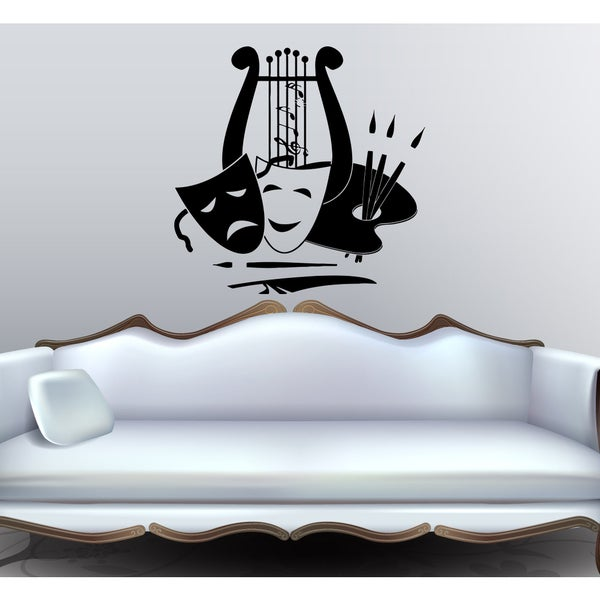 Music harp notes mask smile sad theater Wall Art Sticker Decal