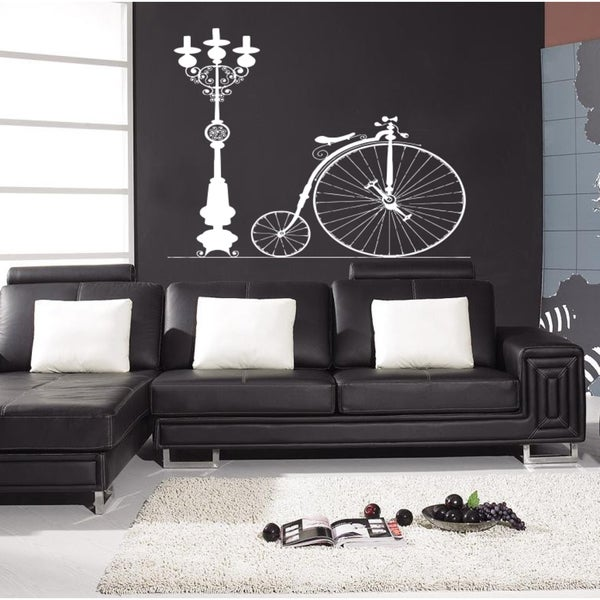 Vintage bicycle lights Wall Art Sticker Decal White