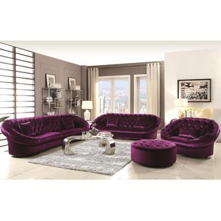 Xnron Cradle Design Purple Velvet Tufted Living Room Collection