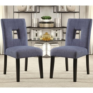 Maldives Open Back Blue Upholstered Parsons Dining Chairs (Set of 2)