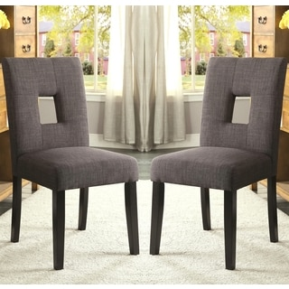 Maldives Open Back Grey Upholstered Parsons Dining Chairs (Set of 2)