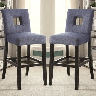 Maldives Open Back Blue Upholstered Counter Height Parsons Dining Stools (Set of 2)