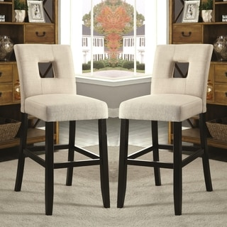 Maldives Open Back Beige Upholstered Counter Height Parsons Dining Stools (Set of 2)
