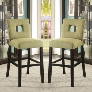 Maldives Open Back Green Upholstered Counter Height Parsons Dining Stools (Set of 2)