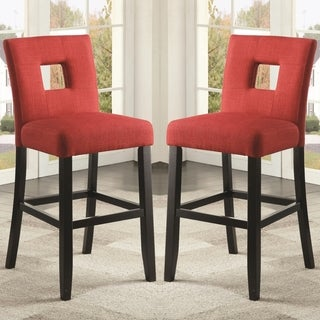 Maldives Open Back Red Upholstered Counter Height Parsons Dining Stools (Set of 2)