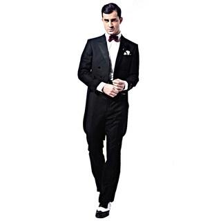 Verno Men's Black Classic Fit Peak Lapel Full Dress 2-Piece Tuxedo With Tails