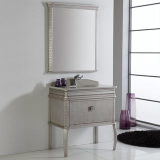 Fresca Platinum London 32 Inch Antique Silver Bathroom Vanity with Swarovski Handles