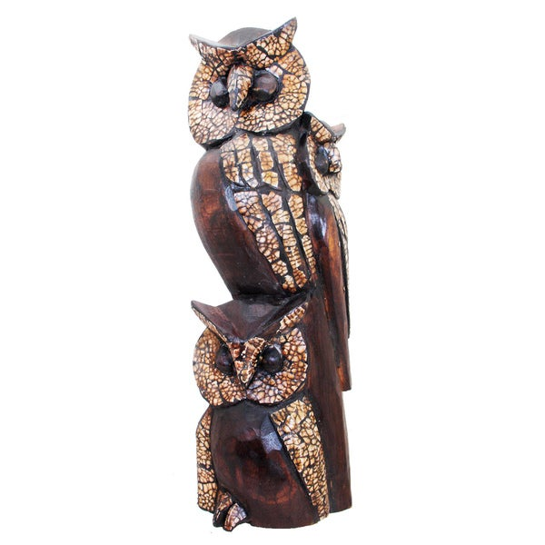 Statue of an Owl Family Embellished with Eggshell