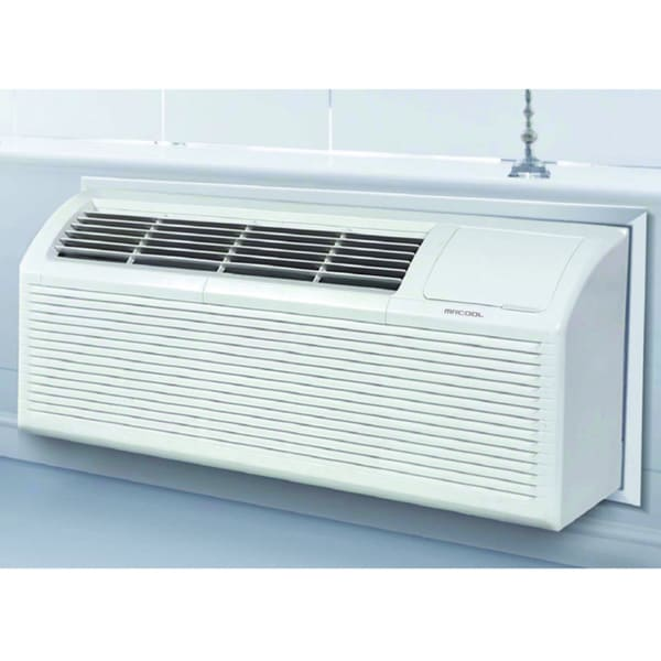 MRCOOL 9,000 BTU Packaged Terminal Air Conditioning PTAC + 3.5 kW Electrical Heater 11.3 EER,230V - White 18300902
