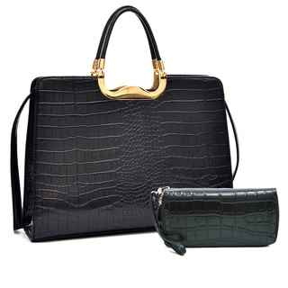 Dasein Rolled Handle Faux Croc Briefcase & Matte Croco Dual Zip Compartment Wallet w/ Wristlet Strap