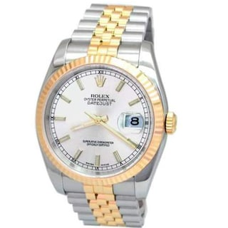 Pre-owned Rolex Two-tone 18k Yellow Gold and Stainless Steel Datejust 116233 Oyster Perpetual Automatic Watch