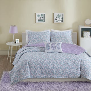Mi Zone Lizzy Aqua Cotton 4-piece Coverlet Set