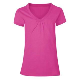 Hanes Girls' Cotton Shirred V-neck Tee