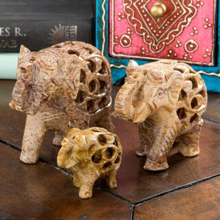 Elephant Soapstone Incense Holder Set (India)