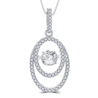 Sterling Silver 1/3ct TGW Cubic Zirconia and Dancing Center Crystal Pendant