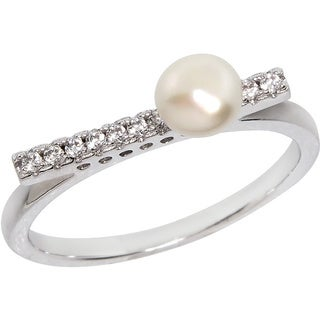 Eternally Haute Silver Overlay Freshwater Pearl Pave Line Ring (1-2mm)