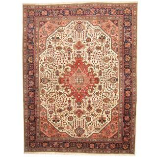 Herat Oriental Persian Hand-knotted Tabriz Ivory/ Navy Wool Rug (10' x 13')