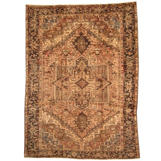 Herat Oriental Persian Hand-knotted 1940s Semi-antique Tribal Heriz Wool Rug (9'4 x 12'8)