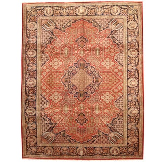 Herat Oriental Persian Hand-knotted 1960s Semi-antique Tabriz Ivory/ Navy Wool Rug (9'10 x 12'9)
