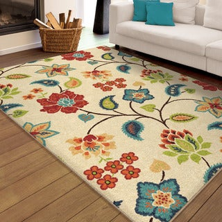 Aria Collection Garden Chintz Ivory Olefin Area Rug (7'8 x 10'10)