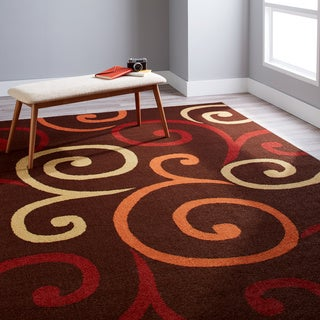 Aria Collection Multi Whirls Brown Area Rug (6'5 x 9'8)