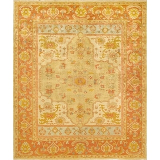 Pasargad Oushak Hand-Knotted Gold-Rust Wool Rug (8' x 10')