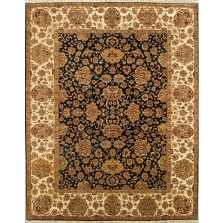 Pasargad Agra Hand-Knotted Navy-Beige Wool Rug (8' x 10')