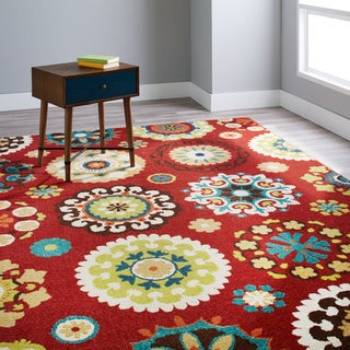 Indoor/ Outdoor Promise Salsalito Red Geometric Rug (6'5 x 9'8)