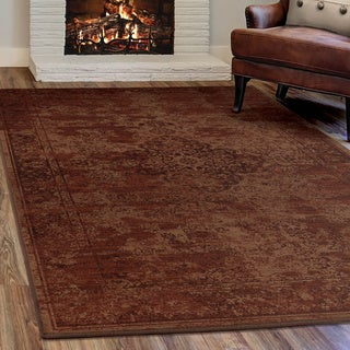 Virtuous Collection Faded Traditional Red Olefin Area Rug (7'10 x 10'10)