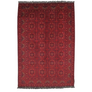 Pasargad Yamoud Hand-Knotted Burgundy Wool Rug (7' x 10')