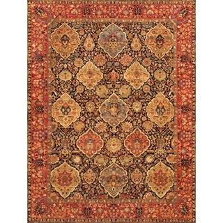 Pasargad Kerman Hand-Knotted Navy-Red Wool Rug (8' x 10')