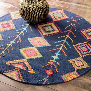 nuLOOM Contemporary Handmade Wool/ Viscose Moroccan Triangle Navy 6 Foot Round Rug