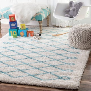 nuLOOM Soft and Plush Cloudy Shag Diamond Kids Nursery Baby Blue Rug (5' x 8')