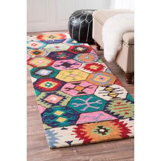 nuLOOM Handmade Southwestern Abstract Honeycomb Wool Multi Rug (2'6 x 8')