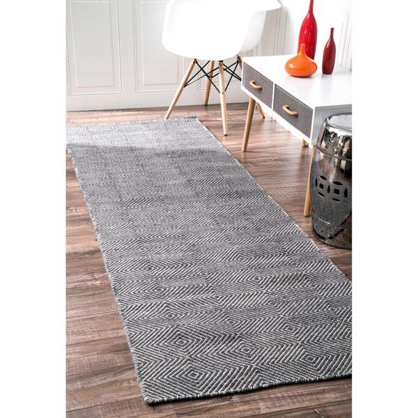 Nuloom Handmade Contemporary Diamond Trellis Wool Cotton