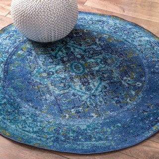 nuLOOM Traditional Vintage Inspired Overdyed Fancy Blue 5 Feet Round Rug