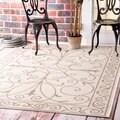 nuLOOM Wrought Iron Flourish Indoor/ Outdoor Beige Porch Rug (6'3 x 9'2)