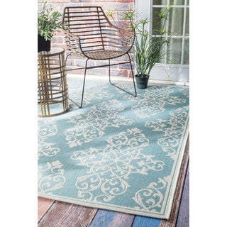 nuLOOM Modern Floral Outdoor/Indoor Porch Rug (8'6 x 12'2)