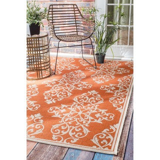 nuLOOM Modern Floral Outdoor/ Indoor Porch Rug (8'6 x 12'2)