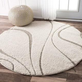 nuLOOM Soft and Plush Curves Ivory/ Beige Shag Rug (5' Round)