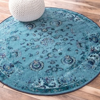 nuLOOM Traditional Vintage Inspired Overdyed Floral Turquoise Rug (5' Round)