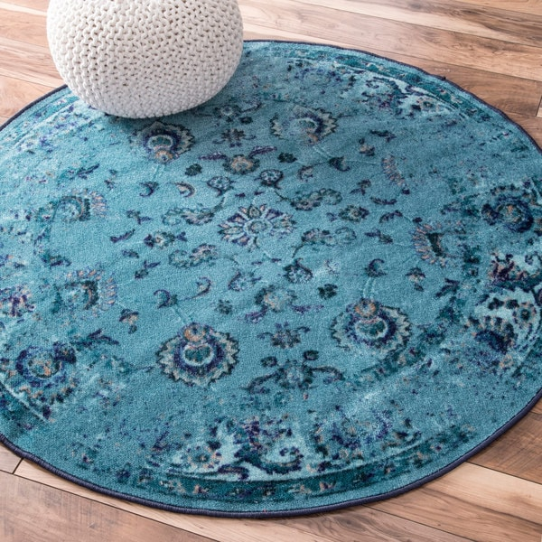Nuloom Vintage Inspired Turquoise Overdyed Rug: NuLOOM Traditional Vintage Inspired Overdyed Floral
