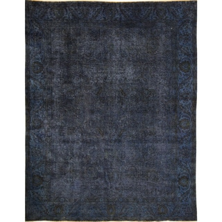 Distressed Oswin Blue Hand-Knotted Rug (9'4 x 12'0)