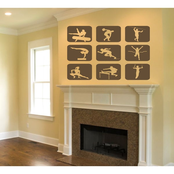 Summer Sports Wall Art Sticker Decal Brown