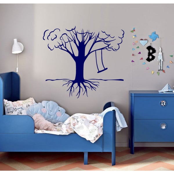 Tree swing life Wall Art Sticker Decal Blue