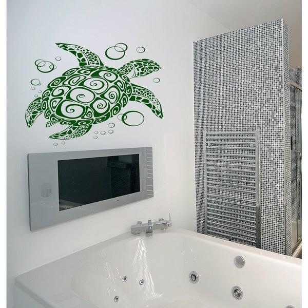 Aquarium fish aquatic turtle tortoise turtle-shell bubbles Wall Art Sticker Decal Green